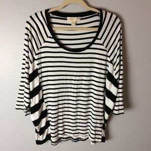 Michael Kors 3/4 Sleeve Black White Pullover Top